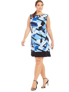 New York Clothing Company | Keyhole Dress In Shattered Blue Print | Gwynnie Bee