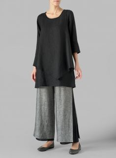 Linen Black Double-Layer Wrap Top - Plus Size Linen Dresses, Dresses With Sleeves, Miss Me Outfits, Modest Fashion, Fashion Outfits, Plus Clothing, Mode Hijab, Pull, Dressmaking
