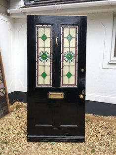 V Large Grand Victorian Stained Glass Front Door Reclaimed Old Period Antique 1