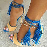 Fringe High Heel Sandals
