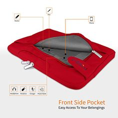 """POSH Sleek Folio 13 - 13.5 Inch Laptop Sleeve Cover Bag for Surface Book Macbook Pro Air Ultrabook Notebook Carrying Case Briefcases for 12"""" 13"""" Lenovo Dell Toshiba HP ASUS Acer Chromebook 