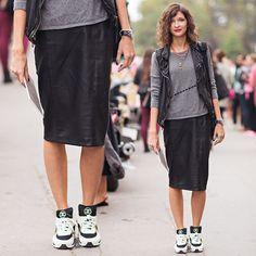 Saia Lápis com Sneakers