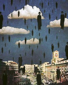 ayhamjabr The Travelers. Dedicated to the artist René Magritte Surreal Mixed Media Collage Art By Ayham Jabr. Rene Magritte, Kunst Inspo, Art Inspo, Art And Illustration, Arte Peculiar, Surrealist Collage, 7 Arts, Collage Art Mixed Media, Creepy Art