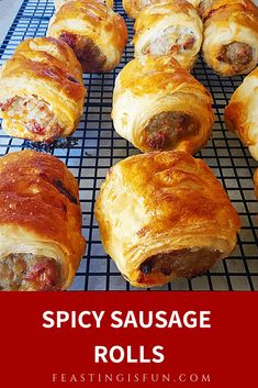 Spicy Sausage Rolls - Feasting Is Fun Spicy Sausage Rolls Recipe jalapeño chilli pepper, chorizo sausage added to sausage meat, lifting the humble sausage roll into an exciting taste adventure. Sausage Rolls Puff Pastry, Chicken Sausage Rolls, Spicy Sausage, Puff Pastry Recipes, Best Sausage Roll Recipe, Sausage Recipes, Beef Recipes, Cooking Recipes, Savory Pastry
