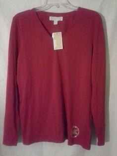 NWT! MICHAEL KORS Studded Logo Long Sleeve Tee Top Sz L RED Blaze $69. #MichaelKors #LongSleevedTShirt