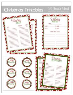 Christmas printables to help you get organized. Christmas list, card list, shopping list, tags and more