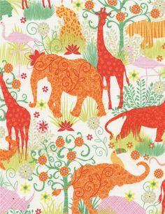 Tissu crème clair importé des Etats-Unis avec des animaux, Collection : Boho Safari par Gail Cadden