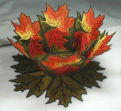 BFC198 Machine Embroidery Autumn Leaves Lace Bowl & Doily