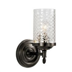 $314.90 Visual Comfort AH2201BZ-CG Alexa Hampton 1 Light Lita Single Sconce in Bronze with Crystal