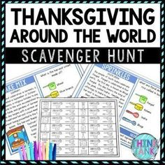 The Thanksgiving Around the World Scavenger Hunt Challenge allows students to move around the classroom while reading passages and answering questions. Topics include: Thanksgiving Around the World, traditions, Germany, China, Lithuania, Brazil, Ghana, South India, Canada, Egypt and the United States Earth Science Activities, History Activities, Party Activities, Holiday Activities, Geography Activities, Classroom Activities, Memorial Day Activities, Middle School History, Upper Elementary Resources