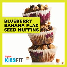 These berry-filled, muffins taste too good to be good for you! Omega 3, Blueberry, Muffins, Berries, Seeds, Banana, Breakfast, Healthy, Food