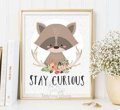 Nursery wall art Printable kids gift stay curious art print