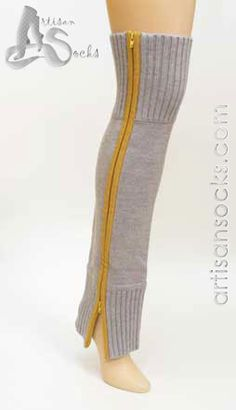 Zipper Leg Warmer by Lara Kazan in Lt Grey / Yellow soft Merino Wool with full-length contrasting zipper makes a bold, practical statement. Knit Leg Warmers, China Patterns, Grey Yellow, Suits You, New Image, Merino Wool, Looks Great, Zipper, Legs