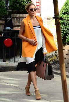 Olivia Palermo wore a Zara skirt as a dress with a Paul & Joe sleeveless jacket, Westward Leaning sunglasses, a Smythson purse and Aquazzura heels in New York.