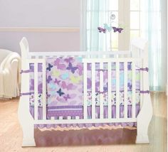 Butterfly Purple Blue Green Baby Girl Nursery Bedding Set by Just Born #JustBorn