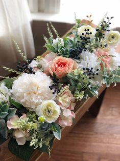 Excited to share this item from my shop: Farmhouse Style Floral Arrangement Long Table Centerpieces, Floral Centerpieces, Wedding Centerpieces, Centerpiece Ideas, Graduation Centerpiece, Flower Box Centerpiece, Quinceanera Centerpieces, Tall Centerpiece, Graduation Decorations