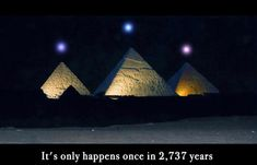 An alignment of three planets over the Pyramids at Giza will occur in December. Planetary alignment of Saturn, Venus, and Mercury that will take place Dec 3, 2012 is dead-on alignment with the Pyramids at Giza. Night Sky in Egypt, local time one hour before sunrise.