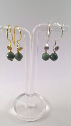 Emerald Earring Emerald Gold Plated Earring Emerald Silver