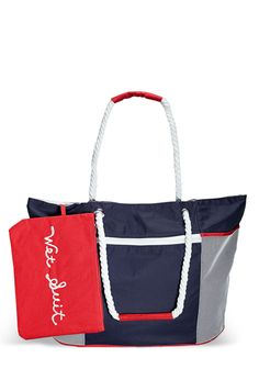 Colorful Beach Tote with Pouch-Plus Size Tote-Avenue