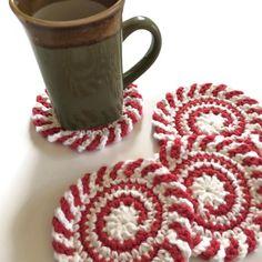Peppermint Swirl Crochet Coasters, Set of 4 Holiday Drink Cotton Coasters Crochet Christmas Decorations, Crochet Decoration, Christmas Crochet Patterns, Christmas Crafts, Christmas Stuff, Christmas Ideas, Xmas, Crochet Cup Cozy, Crochet Home