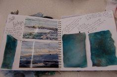 A level Textiles; Durham High School for Girls, Jenni Sneddon Textiles Sketchbook, Sketchbook Pages, Sketchbook Ideas, Watercolor Sketchbook, Watercolor Art, A Level Art Sketchbook Layout, A Level Textiles, Sewing Art, Sketchbook Inspiration