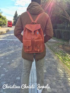 Leather Rucksack Brown Leather Backpack by ChristinaChristiJls