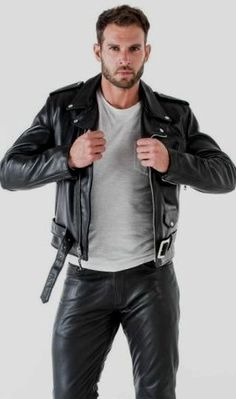Men's Leather Jackets: How To Choose The One For You. A leather coat is a must for each guy's closet and is likewise an excellent method to express his individual design. Leather jackets never head out of styl Mens Leather Pants, Tight Leather Pants, Faux Leather Jackets, Leather Fashion, Mens Fashion, Biker Jackets, Lederhosen, Belstaff, Menswear
