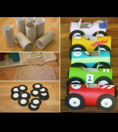 Fräna bilar gjorda av toarullar