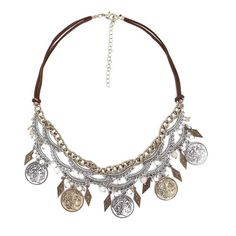 BKE Coin Statement Necklace ($6.78) ❤ liked on Polyvore featuring jewelry, necklaces, bib statement necklace, bke necklace, beaded statement necklace, coin jewelry and bead jewellery