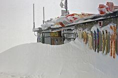 The drifts are DEEP around Corbet's Cabin! by jacksonholemountainresort. Top of the Tram Jackson Hole Mountain Resort, Jackson Hole Wyoming, Ski Season, Park City, Rafting, Spring, Winter Wonderland, Places To Visit, Jackson Hole