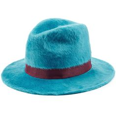 Dsquared2 Rabbit Felt Fedora (1.135 BRL) ❤ liked on Polyvore featuring accessories, hats, turquoise, dsquared2 hat, felt hat, fedora hat, felt fedora and rabbit fur hat