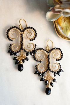 Onyx, Spinel, Gold Filled Wire Wrapped Chandelier Earrings OOAK on Etsy, $60.00