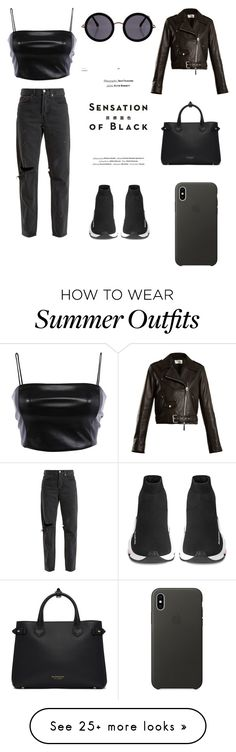 """# monochrome look"" by priyakshichetia on Polyvore featuring Vision, The Row, RE/DONE, Balenciaga, Burberry, Apple and allblackoutfit"