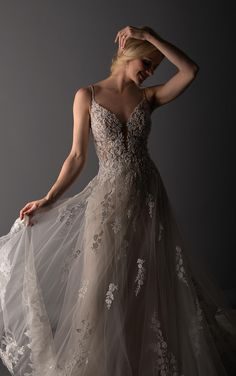 Gorgeous Wedding Dress with Beaded Details and Floral Lace - Martina Liana