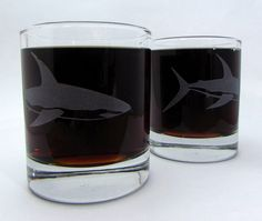 New to DancesWithMonsters on Etsy: Shark Great White Etched Glassware (Large) -Tumblers -Old Fashioned -Can Glasses -Mason Mugs -Ceramic Mugs -Pints Sandblasted Austin Texas USD) Old Fashioned Glass, Old Fashioned Cocktail, Cocktails On The Rocks, Engraved Glassware, Cocktail Glassware, Wedding Toasting Glasses, Personalized Wine Glasses, Whiskey Glasses, Wine Parties