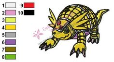 Armadillomon Digimon Embroidery Design