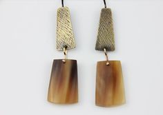 Textured Brass, Silver and Horn Earrings.