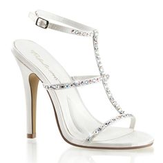 Pleaser Fabulicious Melody 18 Ivory Satin T-Strap Sandals. Sling-back  sandals with rhinestones embedded on straps and 4 cm) stiletto heels 0dcce457e0fd