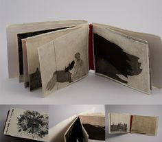"""Akvile Miseviciute """"One thousand and one (sad) story"""" /// handmade book// etching, dry point, aquatint Concertina Book, Accordion Book, Altered Books, Altered Art, Sketch Notes, This Is A Book, Handmade Books, Etchings, Book Making"""
