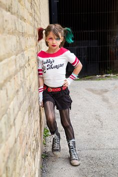 Harley Quinn Suicide Squad inspired little girl cosplay. Photo by Clara Hill Photography. Daddy's Lil Monster t-shirt.
