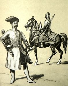 From left to right: Captain of the armored ( Pancerni or Cossack) squadron 1627- 28. Cheremis  cavarlyman from 1632. Fig. B. Gembarzewski.