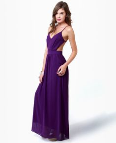 Rooftop Garden Backless Purple Maxi Dress