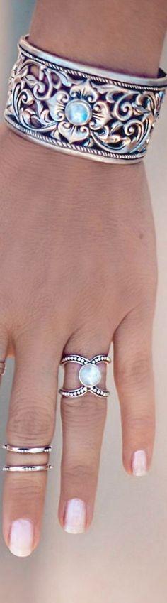Boho Cuff Bracelets. Sterling Silver Cuffs. Moonstone Bracelets. Boho Jewelry