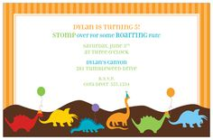 Dino Party Invitation Polkadotdesign