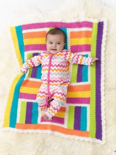 Crochet this bright colored Patchwork Girlie Throw in our newest yarn, Modern Baby!