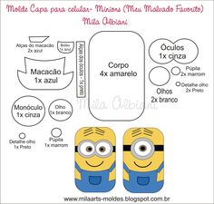 minion patterns for mobile case  molde minions para celular Molde Dos  Minions 11cd284372d8