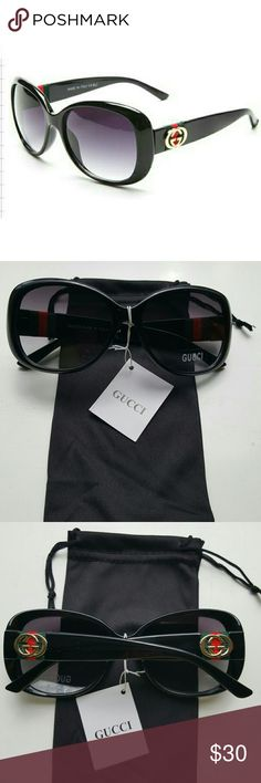 OVERSIZED HIGH FASHION SUNGLASSES BRAND NEW WITH POUCH!   Complete a glamorous look with these fabulous black oversized glasses accented with silver hardware. Comes with black microfiber pouch.  These look similar to the glasses featured in the GUCCI collection at a fraction of the price.   AVAILABLE IN BLACK OR BROWN   These are BASIC quality sunglasses with a very rich look.  I'm open to REASONABLE OFFERS.... PLEASE NO LOW BALL OFFERS.   Thank you xoxo Accessories Sunglasses