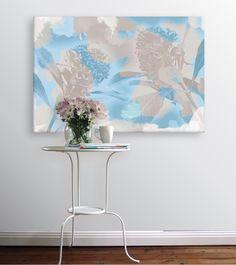 Waratah Canvas in Blue and Taupe from Wallstudio. Australian wall art canvas.