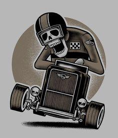 Skeleton in a go kart Just Stance by inkcorf , via Behance Dessin Old School, Arte Black, Skull Design, Skull And Bones, Skull Art, Inked Girls, Oeuvre D'art, Cartoon Art, Graphic Illustration