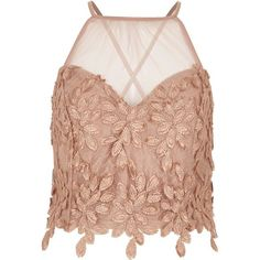 a97eb52f94 River Island Beige leaf lace mesh insert bralette ( 40) ❤ liked on Polyvore  featuring. Beige Crop TopsCute ...